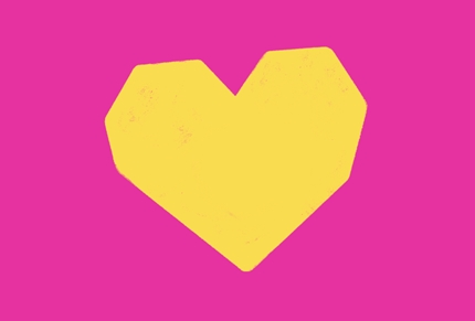yellow heart on pink background