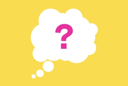 Thought bubble with question mark on yellow background